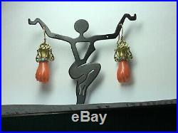 14K Gold Antique Victorian Carved Coral Figa Hand Earrings with Turquoise Bracelet