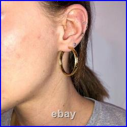 14K Yellow Gold Antique Earrings Hoop Hand-Etched Star Celestial Victorian