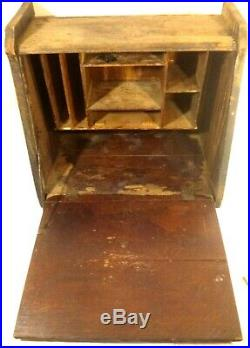 1800s Antique Wood Document Writing Stationary Travel Desk Hand Crafted Vtg 20