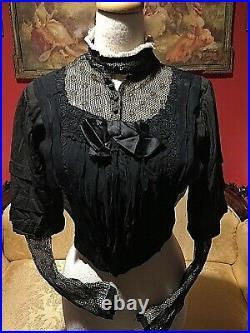 1800s Victorian Edwardian Hand Sewn Silk Blouse jacket With Boning Mesh Detail