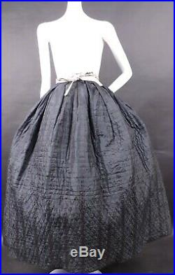 1840s Reversible Hand Sewn Petticoat For Dress W Hand Quilting