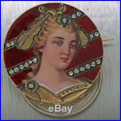 1850 Antique Victorian 18k Hand Painted Rose Diamond Violin Lady Portrait Brooch