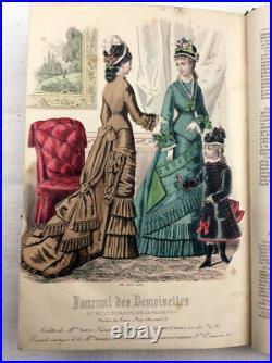 1876 Journal des demoiselles fashion hand coloured plates Victorian magazine