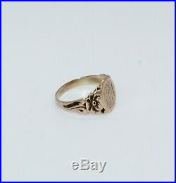 1880's Antique Victorian 14K Gold Hand Engraved Signet Ring 3 Grams Size 7 1/2
