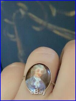 1880s Antique Victorian 14k Gold Hand Painted Miniature Portrait Ring