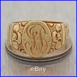1880s Antique Victorian 14k Yellow Gold 13mm Wide Hand Engraved Band Ring
