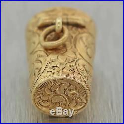 1880s Antique Victorian 14k Yellow Gold Trash Bin Hand Engraved Pendant Necklace