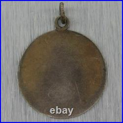 1890's Antique Victorian Silver Hand Painted Enamel Cherub Charm Pendant