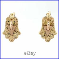 1890s Antique Victorian 14k Yellow Gold Hand Of God Hamsa Earrings