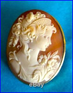 18K Gold Shell Cameo Brooch/Pendant Antique Victorian Hand Carved Hallmarked