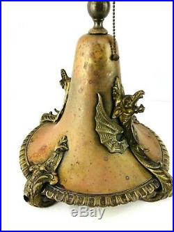 1900s Antique Victorian Table Lamp Copper Brass Dragons Ornate Hand Crafted