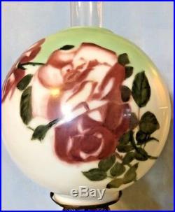 1900s SUCCESS PITTSBURGH KEROSENE OIL LAMP GLASS GLOBE HAND PAINTED RED ROSES