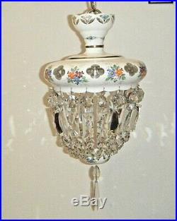 1930s Czech Milk Glass Pendant Chandelier Cut To Clear Crystal Hand Painted Lamp