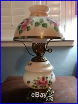1940s 60s Hand Painted Victorian Hurricane Table Lamp