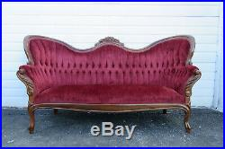 1940s Victorian Style Mahogany Hand Carved Sofa Couch 9899