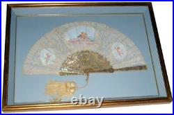 19C French Carved Mother of Pearl & Inlaid Gold Fan w Hand Painted Scenes #4