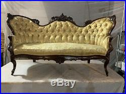19TH Century Rococo VICTORIAN Hand Carved ANTIQUE COUCH / SOFA Settee