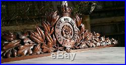 19thC Victorian Knights Order of the Garter Hand Carved Wood Pediment 40.25