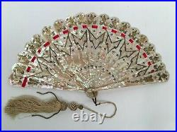 19th C. FRENCH MOTHER of PEARL HAND FAN withGilded Silver Inlaid