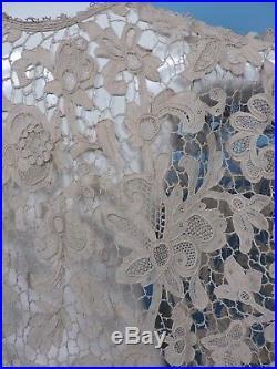 19th C Hand Made Ecru Needle Lace Cape 4 Dress W Rich Floral Detail
