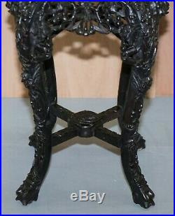 19th Century Chinese Hand Carved Wood, Marble Topped Ebonised Stand Jardiniere