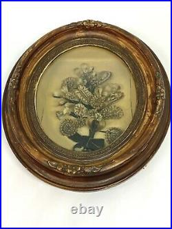 19th Century Victorian Mourning Hair Art Floral Hand Carved Frame Oval