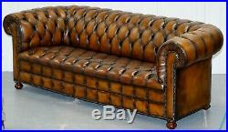1 Of 2 Vintage Hand Dyed Restored Whisky Brown Pleated Leather Chesterfield Sofa