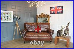 2 seater antiqued brown vintage victorian style brown leather sofa hand dyed