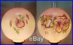 32 Antique Victorian Converted Oil Lamp Pink Floral 3 Way GWTW Hand Painted