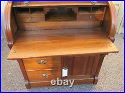 53071 Antique Custom Hand Made Victorian Walnut Cylinder Desk RARE FIND
