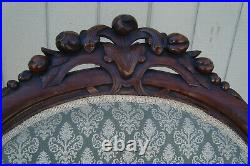 61429 Antique Victorian Hand carved Walnut Parlor Chair