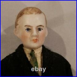 7 Antique Dollhouse Doll Victorian Man Husband Rare Bisque Head hands Miniature
