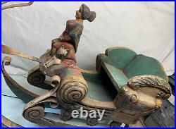 AMAZING Antique Victorian 1890's Austrian 36 Hand Carved Wood Painted Sleigh