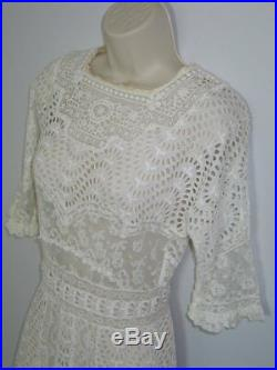 AMAZING Antique c1900s Edwardian Victorian Dress Hand Made Mixed Lace Wedding