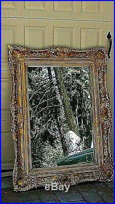 ANTIQUE 19c FRENCH LARGE WOOD HAND VICTORIAN CARVED ORNATE GILT FRAME MIRROR