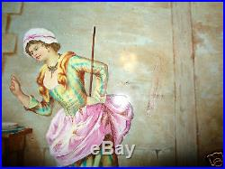 ANTIQUE 19th CENTURY HAND PAINTED CAT LADY PORCELAIN PLAQUE CHARGER SIGNED