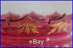 ANTIQUE BOHEMIAN MOSER CRANBERRY GLASS Gold Hand paint LUSTER PAIR MANTLE PRISMS
