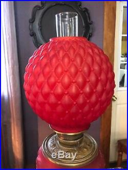 ANTIQUE Hand Painted Red Satin Glass Oil Lamp Gone With the Wind Parlor Lamp