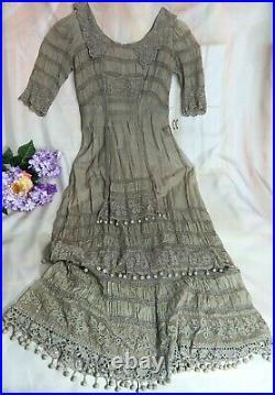 ANTIQUE Original Edwardian Victorian DRESS gray BATISTE hand crochet IRISH LACE