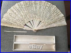 ANTIQUE TIFFANY & CO. HAND FAN ABALONE SATIN & FRENCH LACE with BOX DATED 1890