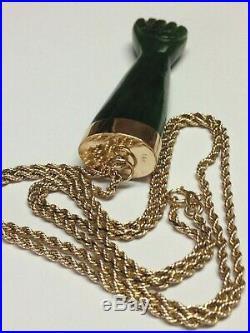 ANTIQUE VICTORIAN 14K GOLD JADE FIGA FIST HAND FERTILITY PENDANT 14K CHAIN 25in