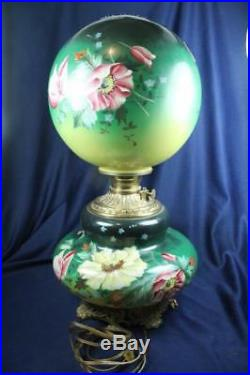 ANTIQUE VICTORIAN EMERALD GREEN HAND FLORAL PAINTED GWTW 22 LAMP as is