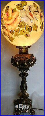ANTIQUE VICTORIAN ERA ORNATE BRONZE BANQUET GWTW LAMP WithHAND PAINTED GLOBE