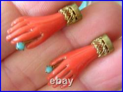 ANTIQUE VICTORIAN FAUX CORAL & TURQUOISE HAND EARRINGS early antique plastic