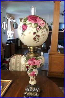 ANTIQUE VICTORIAN GWTW Banquet Parlor Lamp Ball Globe Hand Painted 34