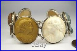 ANTIQUE VICTORIAN HAND CARVED LAVA CAMEO BACCHANTES BRACELET c1870