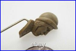 ANTIQUE VICTORIAN HAND CARVED LAVA CAMEO BUST STICKPIN c1860