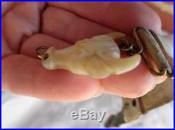 ANTIQUE VICTORIAN HAND CARVED MOP BULL STEER WATCH FOB on COWHAIR STRAP used