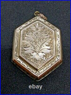 ANTIQUE VICTORIAN HAND ETCHED ROSE GOLD FILLED PENDANT LOCKET WATCH FOB Mourning