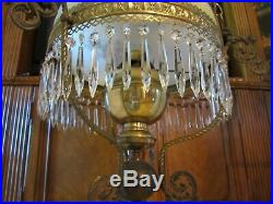 ANTIQUE VICTORIAN OIL CONVERTED ELECTRIC HAND PAINTED CHANDELIER, 48 prism